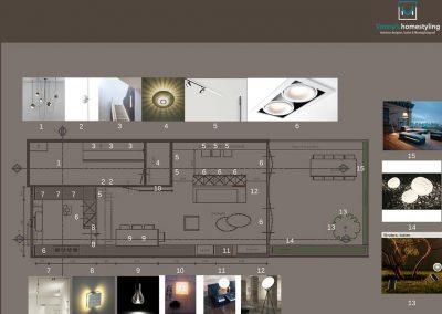 Een plattegrond met meubelindeling en een Lichtplan