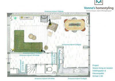 een plattegrond met meubel indeling van een woonkamer en keuken